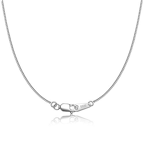 CIELTEAR 925 Sterling Silver Chain Necklace for Women 0.8mm Box Chain, Italian Necklace Chain, Super Strong & Thin & Long16/18/20/22/24 Inches