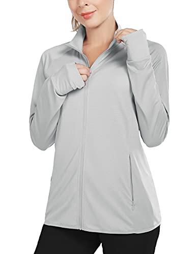 BALEAF Women's UPF 50+ Jackets Lightweight Full Zip Sun Shirts Running Long Sleeve Zip Pockets Outdoor Gray Size XL