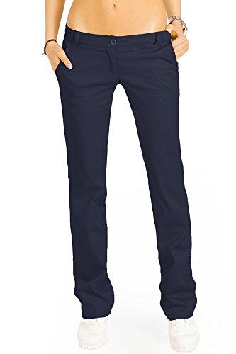 bestyledberlin Elegante Damen Chino, Schicke Regular Fit Stoffhosen, Ausgestellte Sommer Hosen j20k 40/L Marineblau