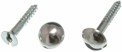 MIRROR SCREW AND DOME HEAD CHROME No. 8 X 32MM 1 1/4 INCH ( pack of 8 )