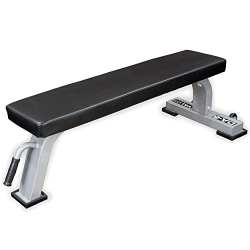 Valor Fitness DA-6 Flat Bench with Non-Slip Grip Handle and High Impact Nylon Wheels for Ease of Mobility – Supports Up to 750 lb