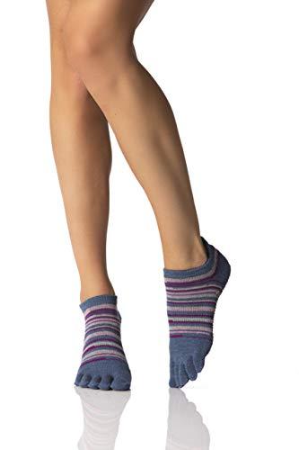 ToeSox Frauen 1 Paar Ausführliche Toe Organic Cotton Low Rise Yoga Socks In Fuchsia (Mittel, Gypsy)