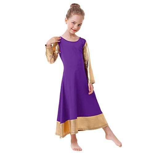 IBAKOM Praise Dance Dress for Girl Liturgical Metallic Gold Full...