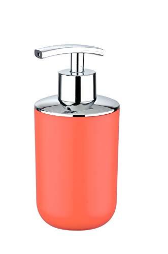 Wenko 23586100-Dispensador de jabón elastómero termoplástico (TPE), Color, Naranja, 7,3 x 16,5 x 9 cm