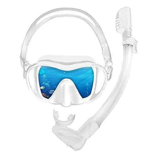 HshDUti Faltbare Schnorchelset für Erwachsene mit Taucherbrille und Dry schnorchel, Panoramablick Brille mit Antibeschlag, Geschenk für Schnorcheln Enthusiasten Weiß
