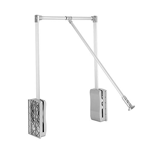 AYNEFY Wardrobe Hanger, Premium Wardrobe Lift Organizer Lift Pull Down Closet Rod Adjustable Width Clothes Hanging Rail for Soft Return Space Saving(450-600mm)