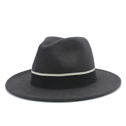 Duyani Hombres Mujeres Sombrero Fedora con Cinturón de Tela Negro Sombrero de Jazz de ala Ancha Pop Sombrero de fascinador de Iglesia Salvaje Informal Tamaño 56-58 cm