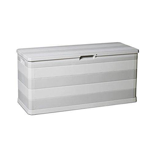 Kreher Kissenbox Elegance in Hellgrau. Mit 280 Liter Nutzvolumen, passend für Kissen, Decken und Stuhlauflagen. Maße 117 x 45 x 56 cm