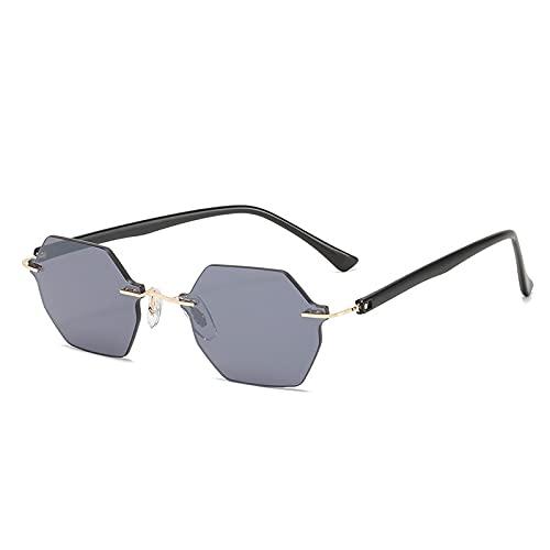 WANGZX Fashion Polygon Gafas De Sol para Mujer Gafas Graduadas Retro Sin Marco Gafas De Sol para Hombre Uv400 Gris
