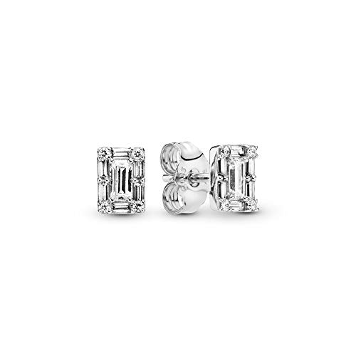 Pandora Jewelry Sparkling Square Halo Stud Cubic Zirconia Earrings in Sterling Silver