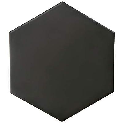 "SomerTIle FEQ8HMN Hexagono Porcelain Floor and Wall, 7"" x 8"", Black Tile, Matte, 25 Piece"