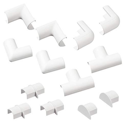 D-Line Micro+ Kabelkanal Clip-Over Verbindungsstücke Multipack | Aufsteckbare Verbindungsstücke | Verbinden Sie mehrere 20x10mm Kabelkanäle CLOAP2010W | 13-teiliges Kabelkanal Zubehör Set - Weiß