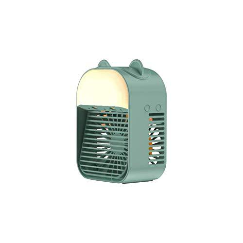 Mini ventilador de mesa, mini ventilador de escritorio, carga USB, aire acondicionado portátil, aire acondicionado personal, enfriador de aire, humidificación, luz nocturna, ajustable 3 velocidades