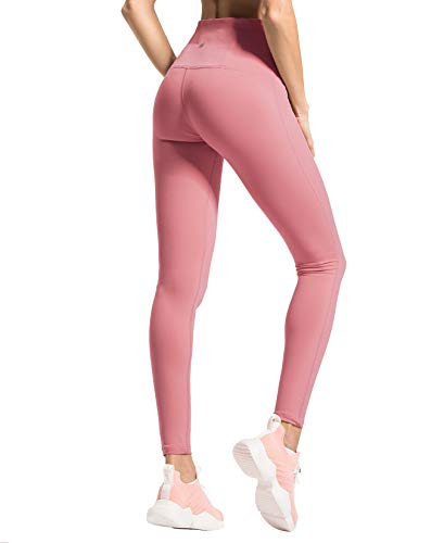 QUEENIEKE Women Yoga Legging Running High Waist Pants Workout Tights Size S Color Begonia Pink