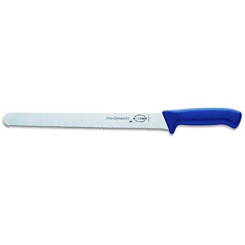 Dick Aufschnittmesser mit Wellenschliff 30 cm Klinge - Griff blau - Brisket Messer für Lachs, Schinken, Wurst, Käse, Brot, Gemüse oder Obst