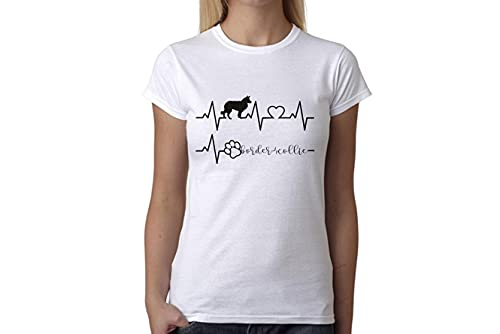 t-shirteria Tshirt electrocardiógrafo Border Collie–I Love Border Collie–Perros–Dog–Love–Humor–Tshirt simpatiche y Divertidos, Bianco, L