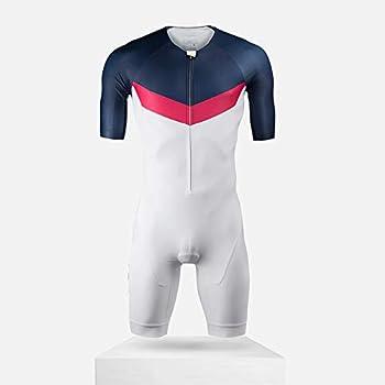 BOSETALK Men's Triathlon Race Suit - Speedsuit Skinsuit Trisuit Sleeveless - One-Piece Vest and Short Combo That Half zips with a Rear Pocket for Storage  Blue S