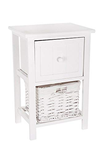 FiNeWaY Fully Assembled White Shabby Chic Bedside Cabinet Unit Table W Wicker Basket Storage Bathroom Bedroom (White)