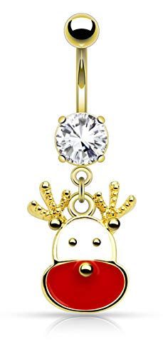 Forbidden Body Jewelry 14g Surgical Steel Christmas Themed Belly Ring, Reindeer (Gold)