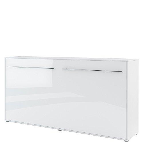 Schrankbett Concept PRO Horizontal, Wandklappbett, Bettschrank, Wandbett, Schrank mit integriertem Klappbett, Funktionsbett (90 x 200 cm, Weiß/Weiß Hochglanz, Horizontal)