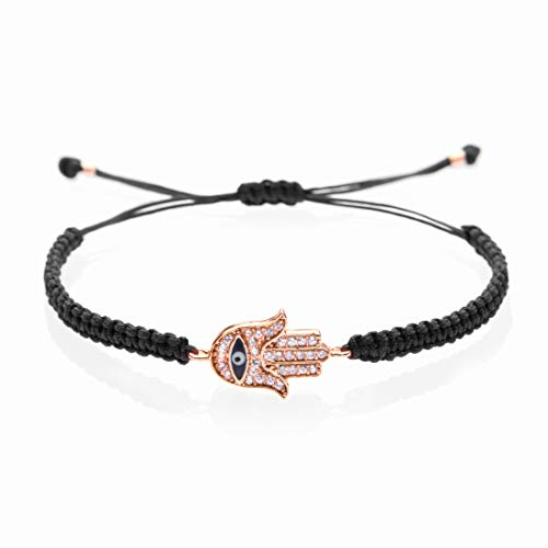 Hamsa Bracelet I Handmade & Adjustable (Black) I Symbol of protection, power, and strength