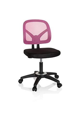 hjh OFFICE 736406 Kinder- und Jugenddrehstuhl Kid YU 100 Netzstoff Schwarz/Pink Kinder Schreibtischstuhl höhenverstellbar