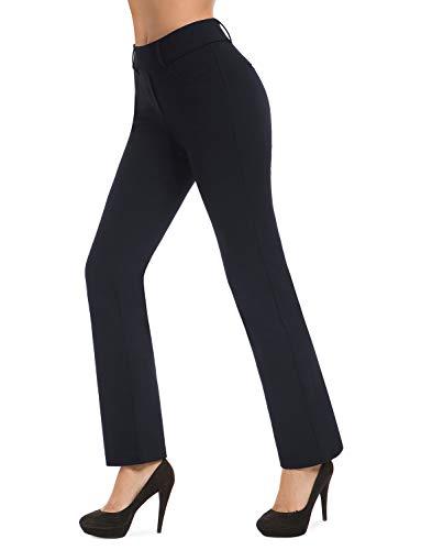 Bamans Women's Bootcut Pull-On Dress Pants Office Business Casual Yoga Work Pants Straight Leg (Blue, Medium)