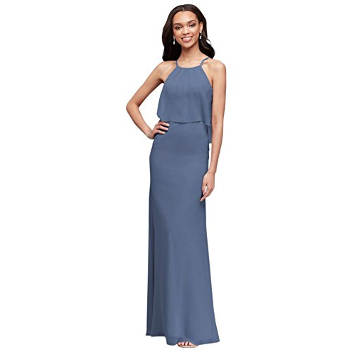 David's Bridal Flounced Crinkle Chiffon Sheath Bridesmaid Dress Style F19773, Steel Blue, 22