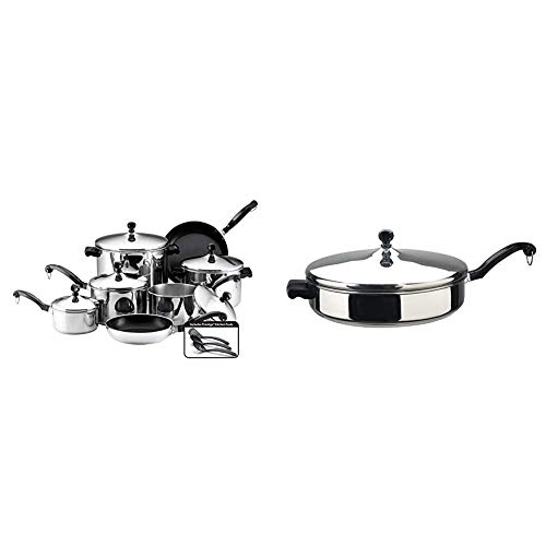 Farberware Classic Stainless Steel Cookware Pots and Pans Set, 15-Piece,50049,Silver & Classic Saute Pan/Frying Pan/Fry Pan with Lid and Helper Handle - 4.5 Quart, Silver