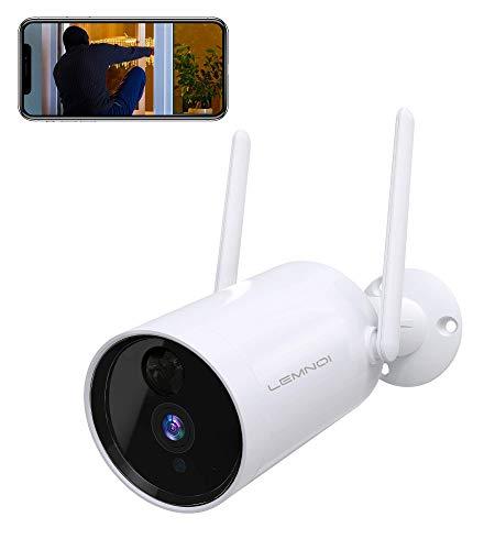 Lemnoi Cámara de Vigilancia Exterior Inalámbrica con Batería 10400 mAh Recargable, HD 1080P Cámara WiFi con Audio Bidireccional Visión Nocturna Detección de Movimiento para Seguridad en el Hogar, A101