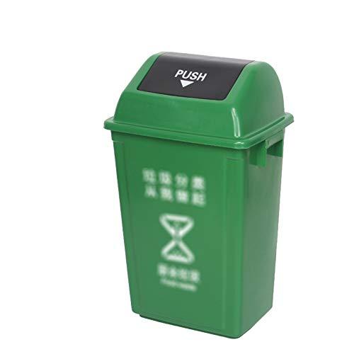 Outdoor trash can Chang-S-Q-123 Latas De Basura De Plástico para El Hogar, Reciclaje Rectangular De Reciclaje De Basura con Portada del Hotel Restaurant Office Basura Comercial(Size:60L,Color:Verde)