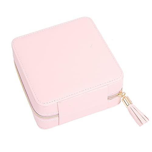 Caja de almacenamiento portátil de joyería doble ornamento caja de almacenamiento pendientes anillo anillo trenzado grano caja blanco 12 x 12 x 6 cm