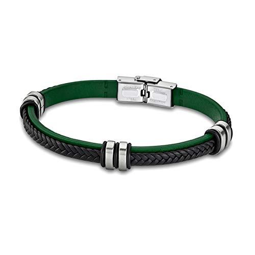 Lotus Style Pulsera de Piel LS1829-2/2 Negro Verde para Hombre y Mujer D3JLS1829-2-2 de Cuero y Acero Inoxidable Pulsera para Mujer