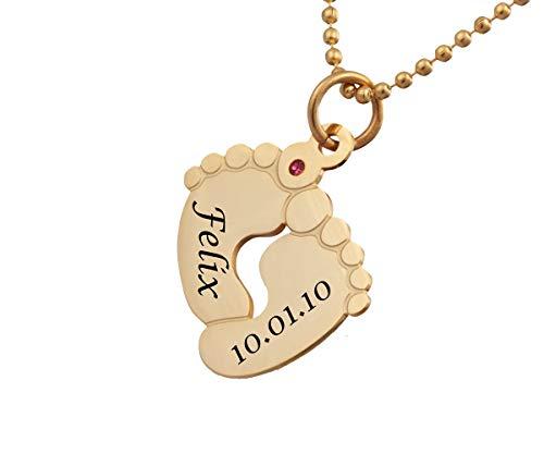 Anhänger mit Gravur Babyfüße Damenkette mit Gravur ❤️ Babyfüße - inkl. Gravur - Edelstahl AH374ac - mit AMAZON KONFIGURATOR direkt online gestalten !