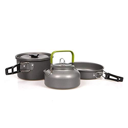 CTOBB Draagbare Camping Pot Pan Kettle Set Aluminium Outdoor Tafelgerei Kookgerei 3 stks/Set Theepot Koken Tool voor Picknick BBQ,CHOT982,Russische Federatie