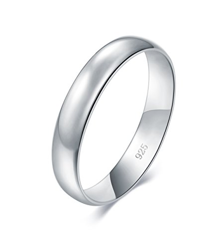 BORUO 925 Sterling Silver Ring High Polish Plain Dome Tarnish Resistant Comfort Fit Wedding Band 4mm Ring Size 9.5