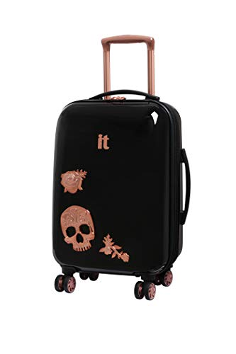 IT Luggage Candy Skull 55cm Carry-on Expandable Hardshell Four Dual Wheel Spinner Suitcase Black