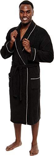 Ross Michaels Men's Lightweight Cotton Terry Robe - Luxury Bathrobe w/Contrast Piping (Black, L/XL)