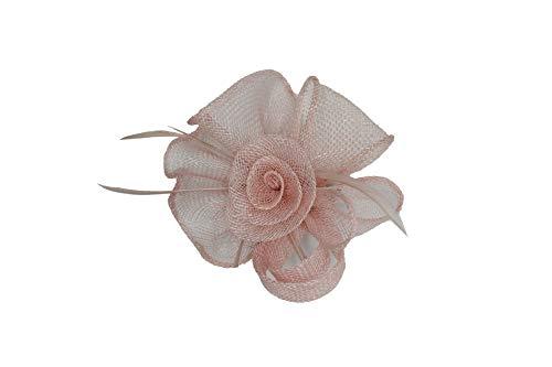 Finecy In – Eleganter Fascinator mit Sinamay-Locken und Federn, für Hochzeit, Abschlussball, Royal Ascot, Kopfschmuck, Hut, Brosche und Clip Gr. 80, blassrosa