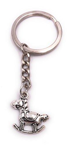 H-Customs Schaukelpferd Schlüsselanhänger Anhänger Silber aus Metall