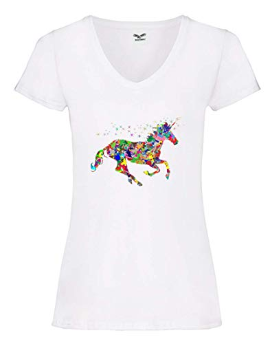 Camiseta V – Multicolor Prismático cromático Arco Iris – Camiseta para Mujer y Mujer con Cuello en V Blanco XS