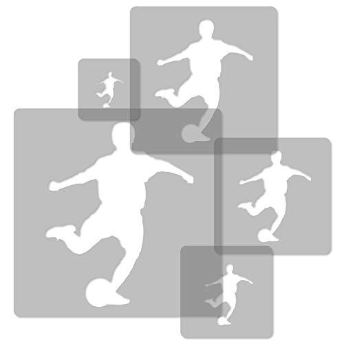 5 Stück wiederverwendbare Kunststoff-Schablonen // FUßBALLER - SOCCER SPIELER // 34x34cm bis 9x9cm // Kinderzimmer-Dekorarion // Kinderzimmer-Vorlage