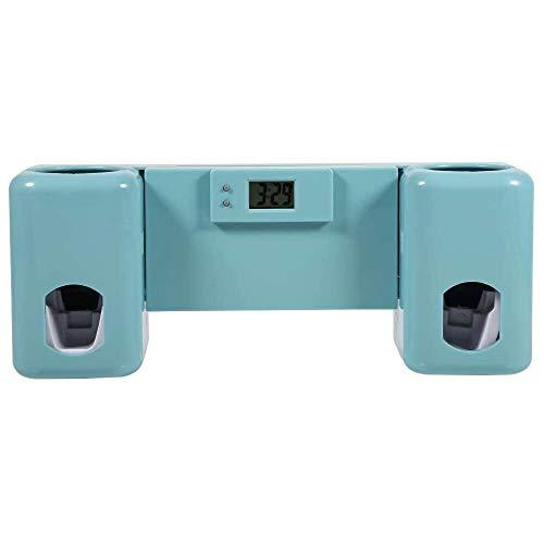 YuKeShop Dispensador automático de pasta de dientes con soporte de pared para cepillo de dientes, soporte con reloj de pasta de dientes, kit de exprimidor de pasta de dientes, accesorio de