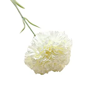 Vibola Artificial Fake Flowers Carnations Floral Wedding Bouquet Party Home Decor 1PC DIY Fresh Flower Carnation Silk Plant for Mother's Day Decoration(Vase not Included (White)