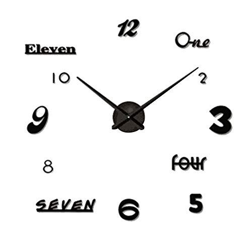 Asvert Reloj DIY 3D Silencioso de Material Acrílico con Números Adhesivos (Efecto de...