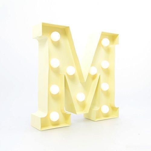 APM Marquee Letter Light M - Letras del Alfabeto LED iluminadas - Letras de la Bombilla - Cartel Decorativo Vintage - Metal 9' Vainilla