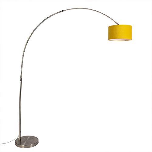 QAZQA Modern stahl/nickel mattbogenlampe mit gelbem Schirm 35/35/20 - XXL/Innenbeleuchtung/Wohnzimmerlampe/Schlafzimmer Metall/Textil Andere LED geeignet E27 Max. 1 x 60 Watt