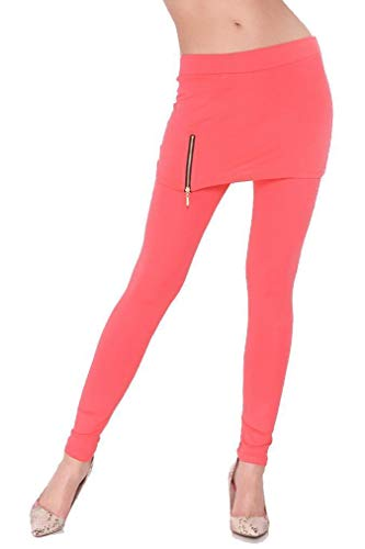 Damen Rocktights Leggings Skirt Strech Leggins Leggings mit Rock Gr. S M L XL 2XL 3XL, A8389 Koralle S/M 36/38
