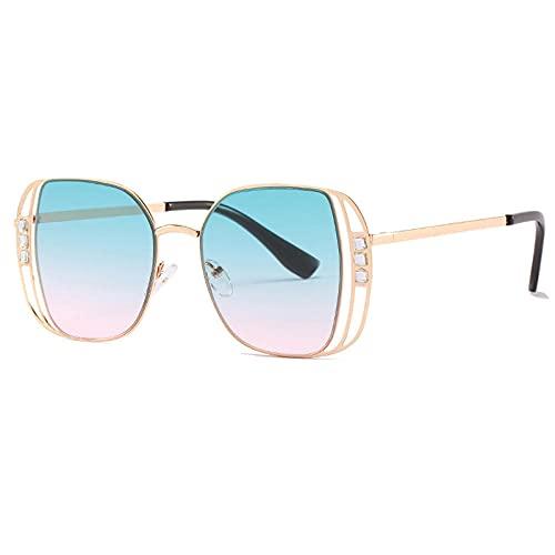 IRCATH Steampunk Square Gafas de Sol Plaza Mujer Moda Diamante Gafas de Gran tamaño Gafas Femeninas Gafas de Metal UV400 Adecuado para Conducir Playa Trekking Party-C7 Rosa Verde-Verde