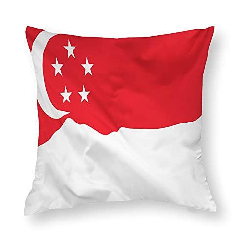 Kissenbezug, Motiv: Flagge Singapur, quadratisch, dekorativer Kissenbezug für Sofa, Couch, Zuhause, Schlafzimmer, drinnen & draußen, niedlicher Kissenbezug, 45,7 x 45,7 cm